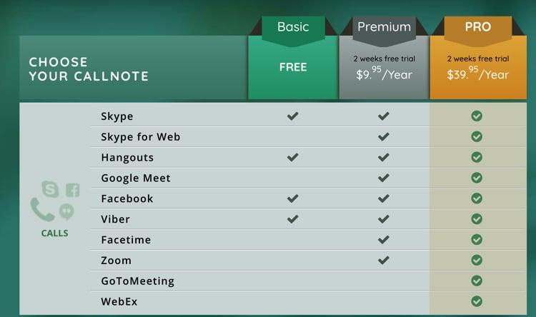 Callnoteの料金表