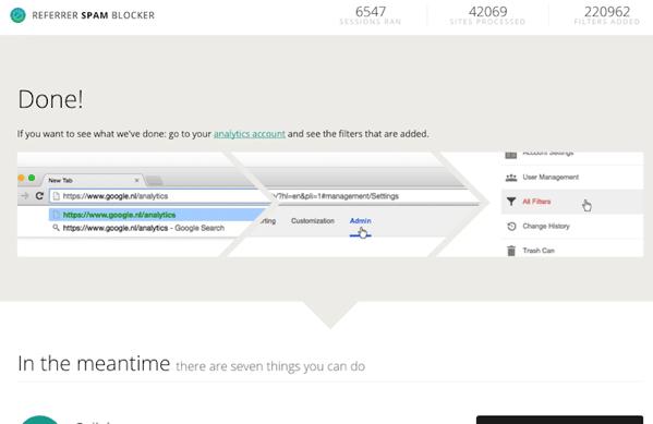 Referrer Spam Blockerのフィルタ追加が完了