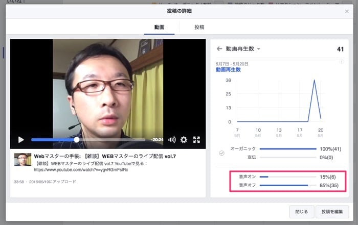Facebookライブの動画再生数
