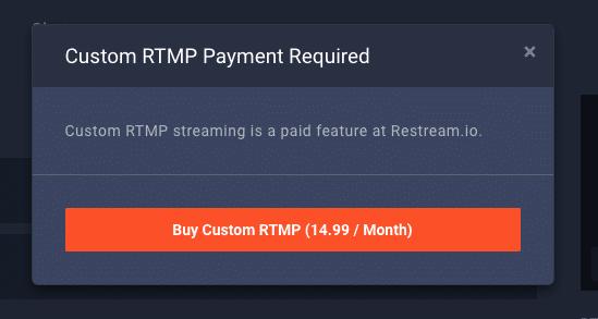 Restream.ioのチャンネル追加は月額$14.99