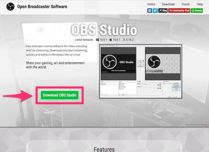最新バージョンのOBSをダウンロード