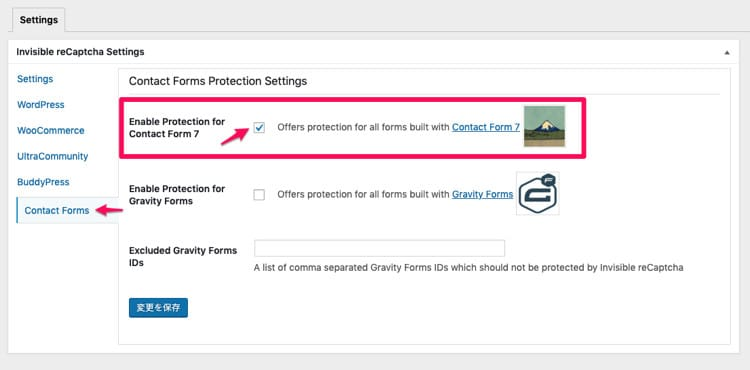 Enable Protection for Contact Form 7にチェックを入れる