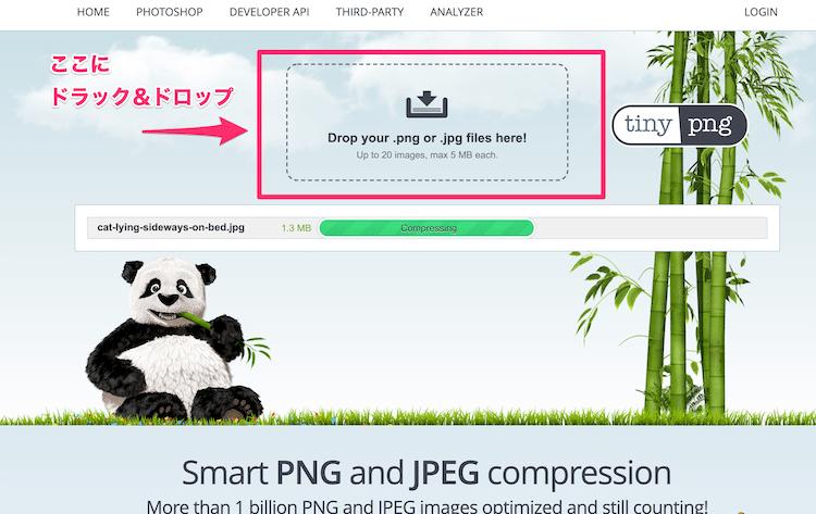 TinyPNGに圧縮したい画像を追加する