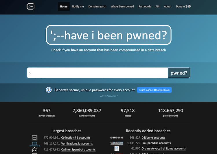 メールアドレスが漏洩しているかチェックできる「HaveIBeenPwned」