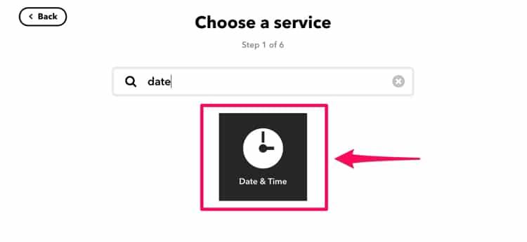 IFTTTでDate&Timeを選択する
